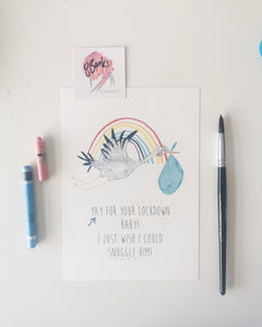 A5 Illustrated Lockdown Baby Rainbow Print - Blue