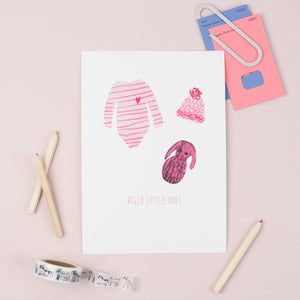 A5 Hello Little One Baby Girl Print