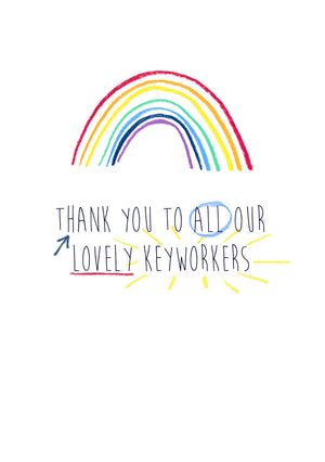 A5 Illustrated Encouragement Rainbow Print -  Thank You Lovely Keyworkers