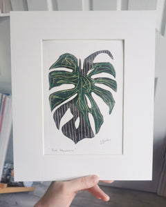 Original Mixed Media Print - Monstera in Pink