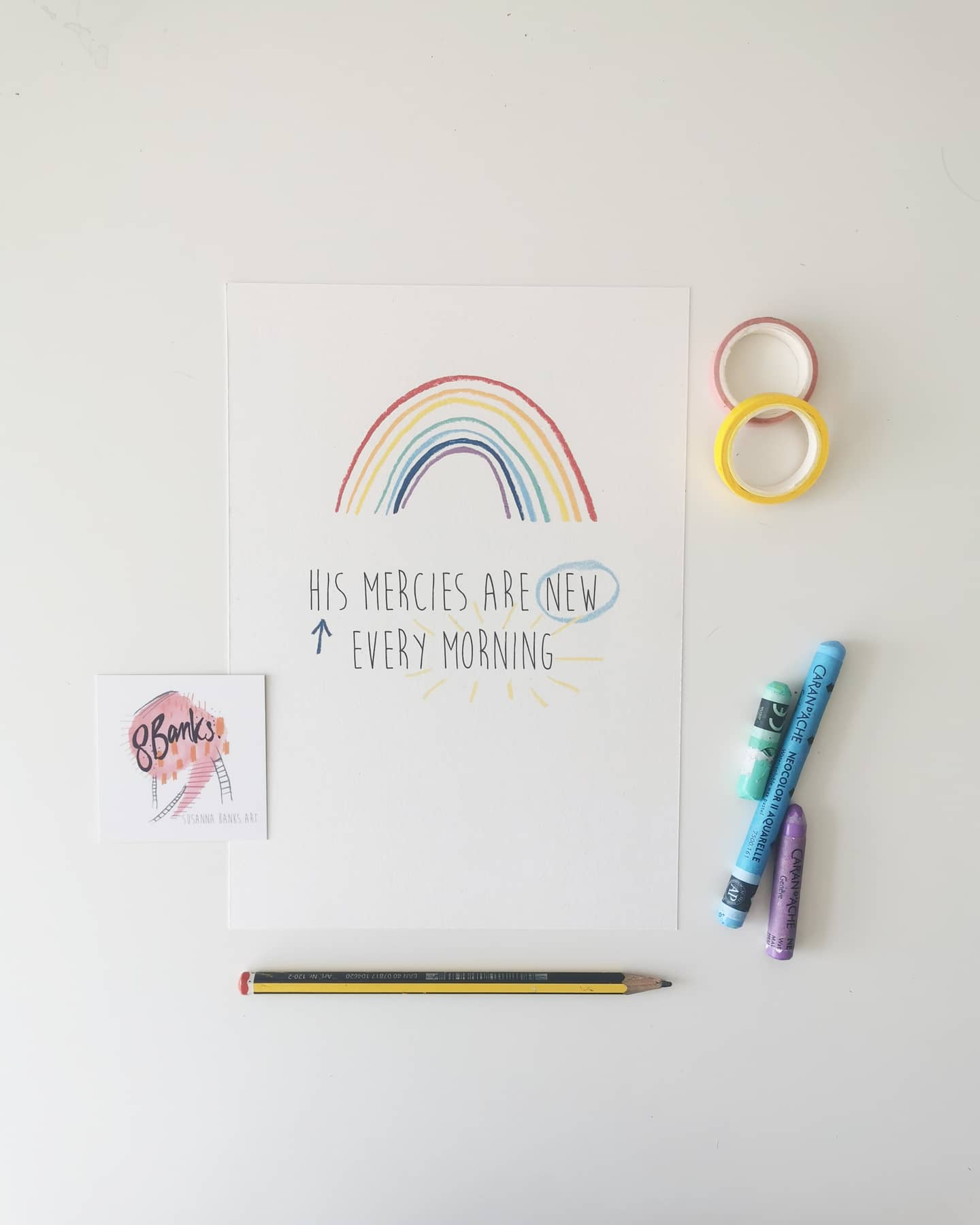 A5 Illustrated Encouragement Rainbow Print -  His Mercies are New Every Morning