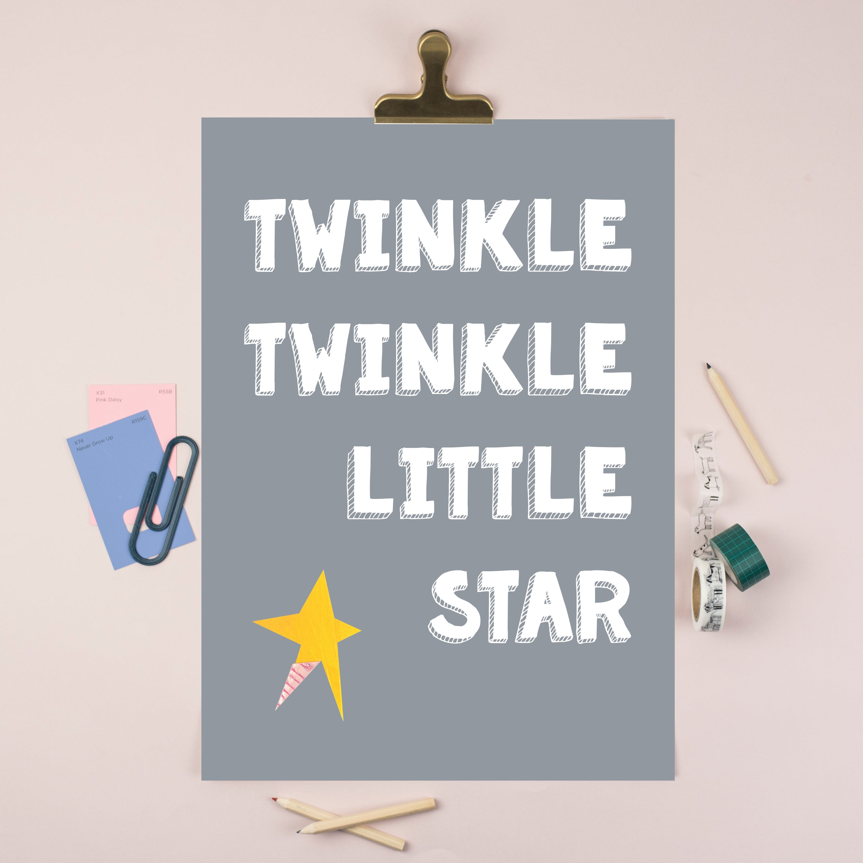 Twinkle Twinkle Little Star (Grey) Illustrated Print