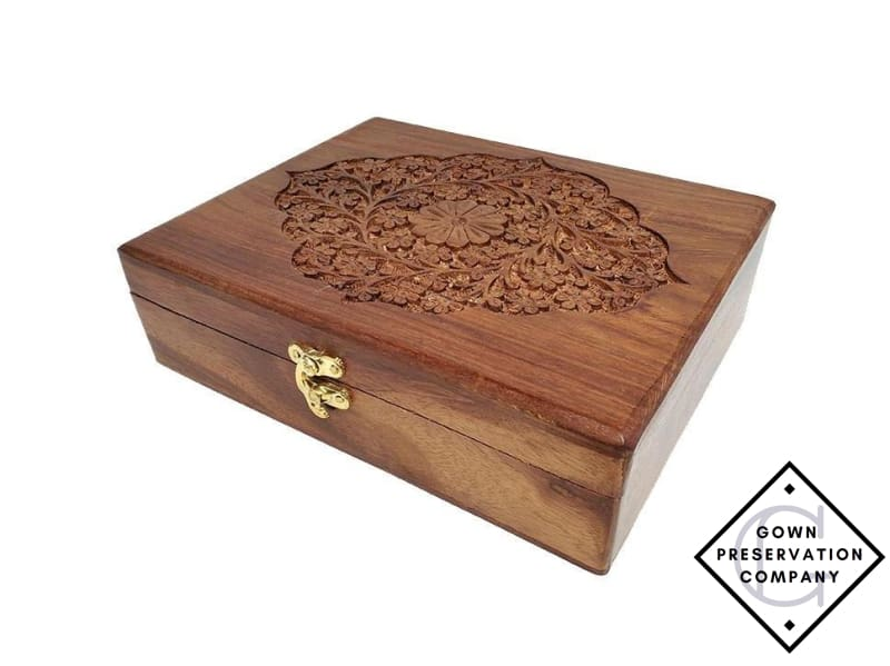 Floral Wood Keepsake Box - Heirloom Container Box