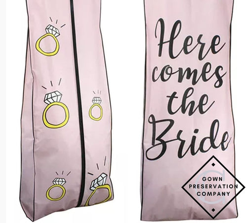 Here Comes The Bride Breathable Fabric Garment Bag - 72 Inches Long W/gusset