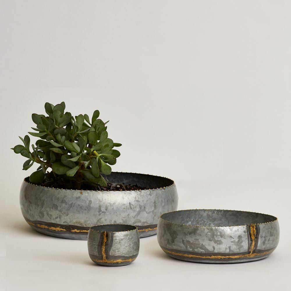 Shallow Galvanised Pots- Set of 3