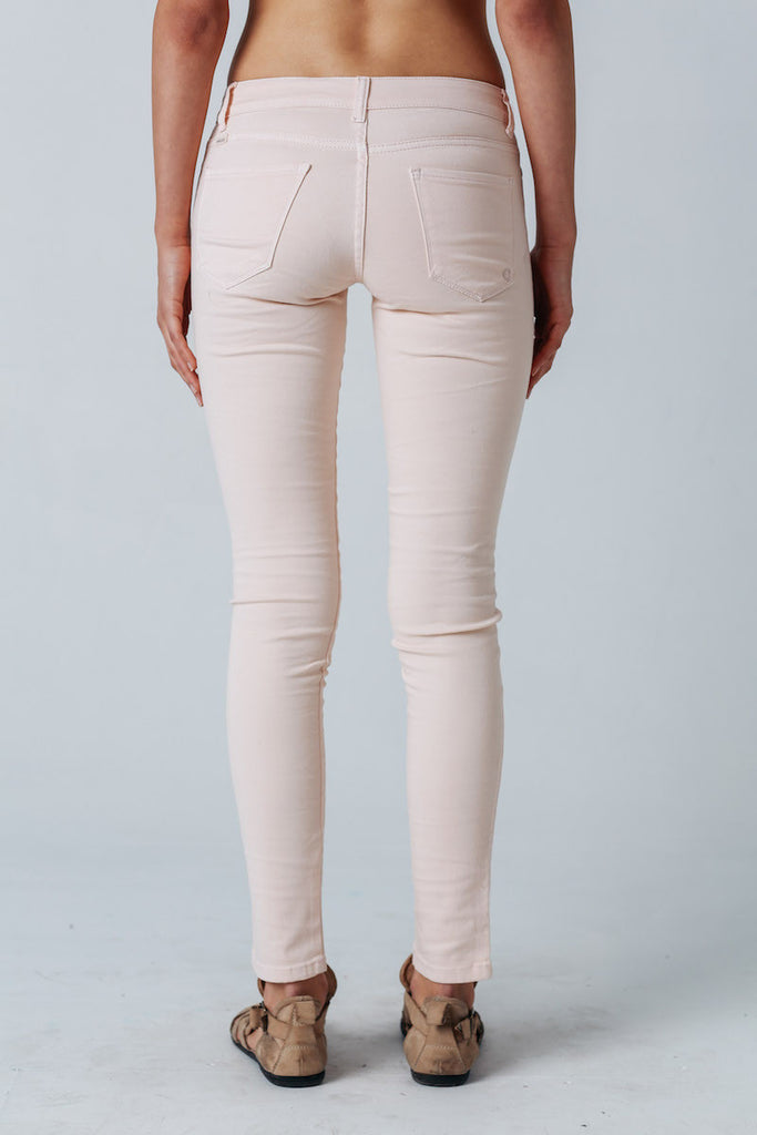 Carousel Essentials Washed Skinny Jean in Pink Denim