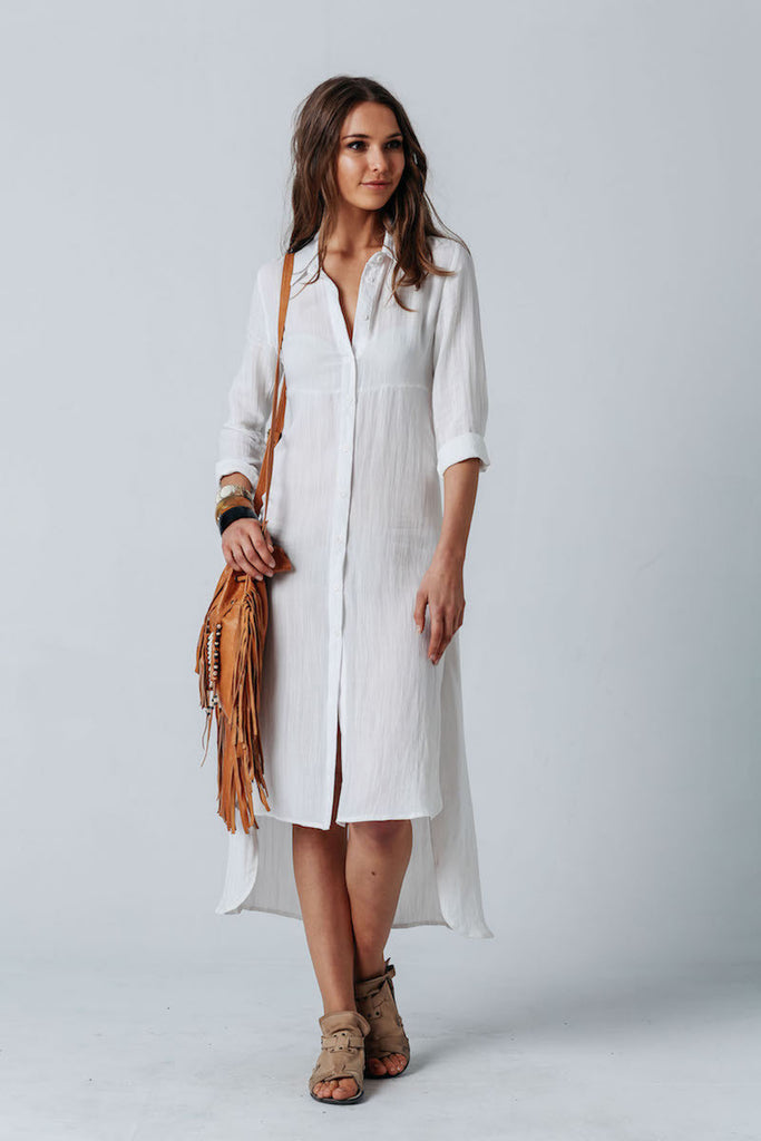 Carousel Essentials Medusa Shirt Dress In White