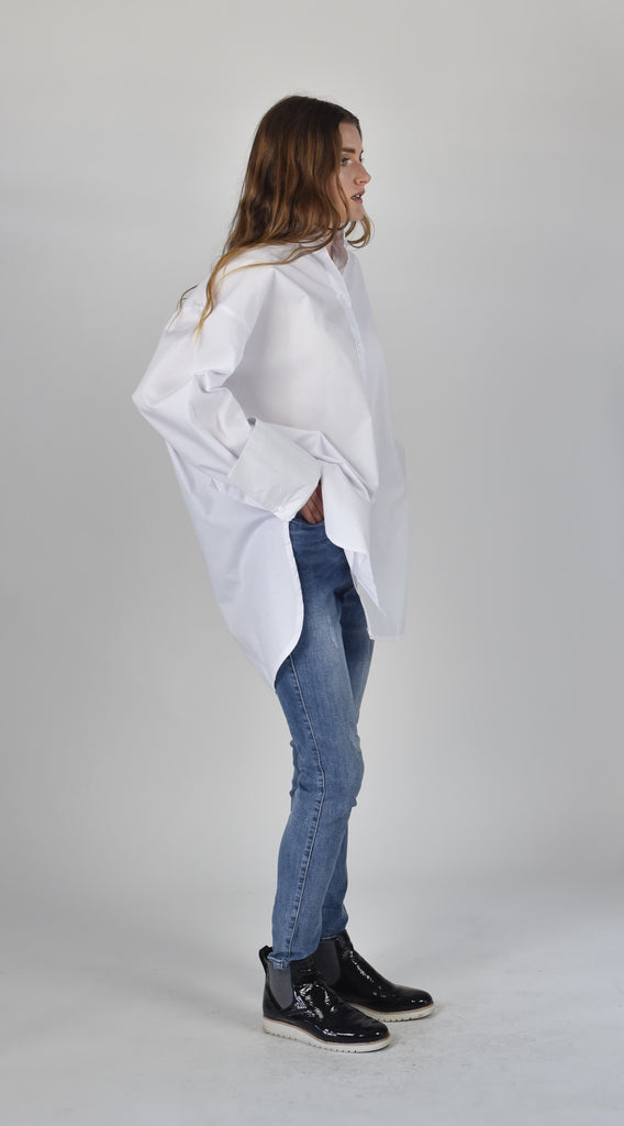 Carousel Essentials Cuff Shirt in white