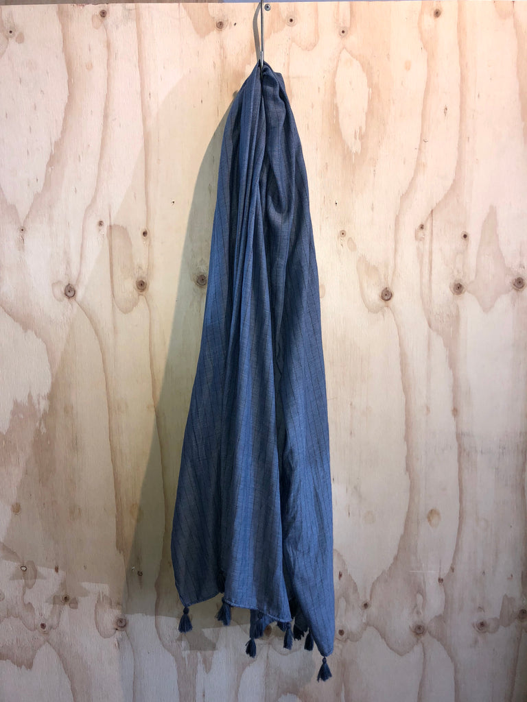 Egyptian Cotton Scarf in Blue