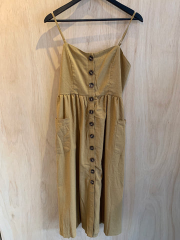 Natural Beige Button Up Dress