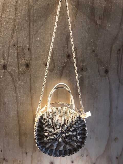 Round Straw Bag Stripe Natural Stripe
