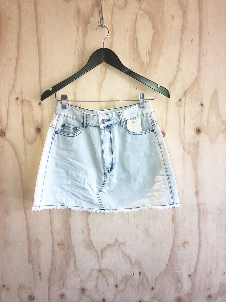 Carousel Essentials Acid Wash Denim Mini Skirt