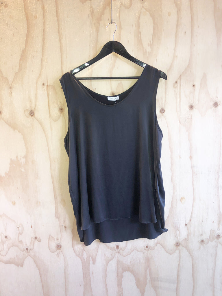 Primari Black Loose Silk Tank