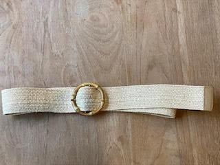 Beige Belt With Bamboo Buckle