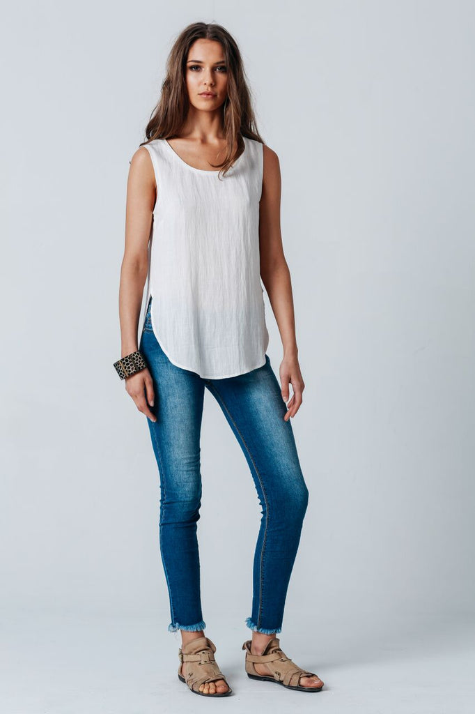 Carousel Essentials Palazzo Top in White