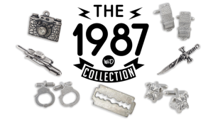 The 1987 Collection (clockwise top right) cufflink knife cross, cuff, razor cuff, bar, camera priced 555 to 555