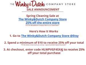 Sale Announcement for The Winky&Dutch Company Store
