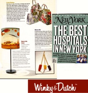 "In June of 1987, New York Magazine listed the best hospitals in NYC on their cover. The Winky&Dutch lamp was editorialized and Winky&Dutch was acknowledged for having 'inventive hands"" and for  'putting a playful spin on jewelry and home accessories'.  We can't wait for New York Magazine to see us now."