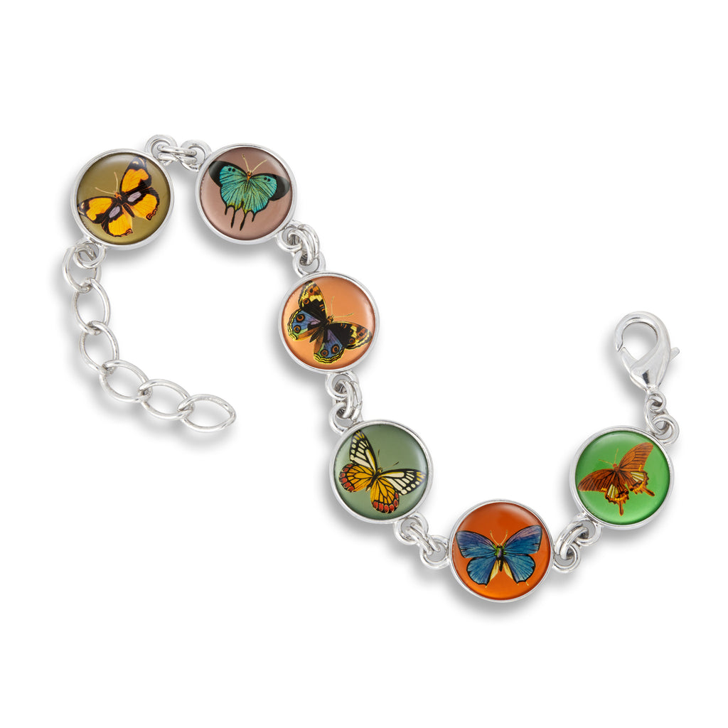 Link Charm Bracelet featuring Butterfly Kisses