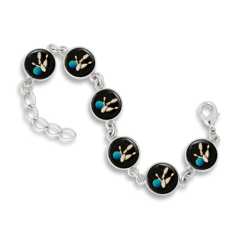 Link Charm Bracelet featuring Bowling Ball & Pins