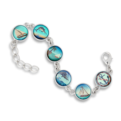 Link Charm Bracelet featuring Sailing & Fishing