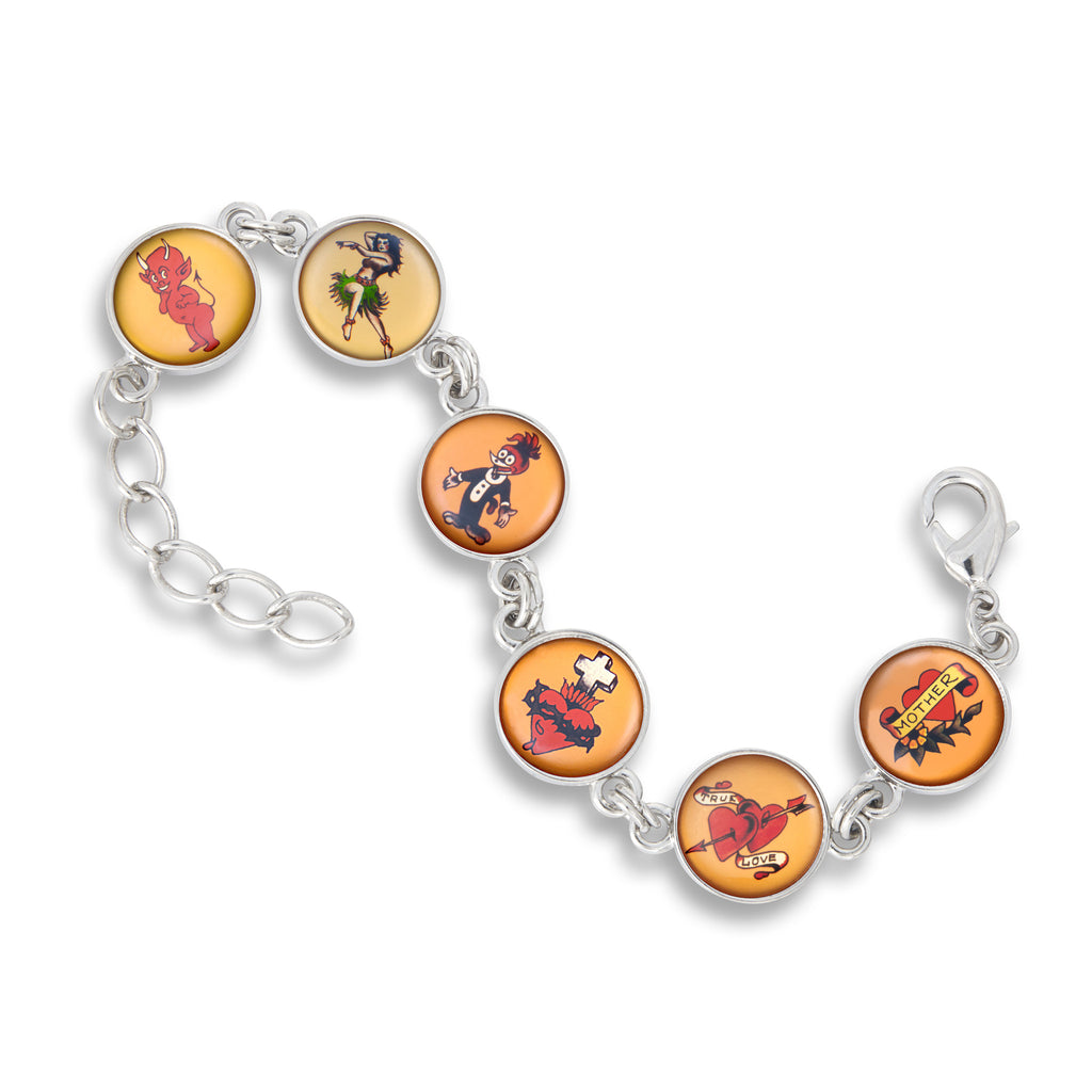 Link Charm Bracelet featuring Vintage Flash Tattoo