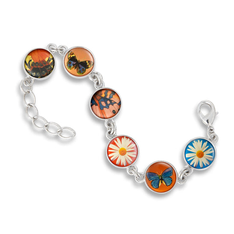 Link Charm Bracelet featuring Butterfly Wings and Flowers