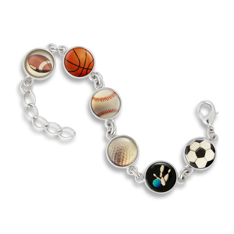 Link Charm Bracelet featuring Sports Fanatic