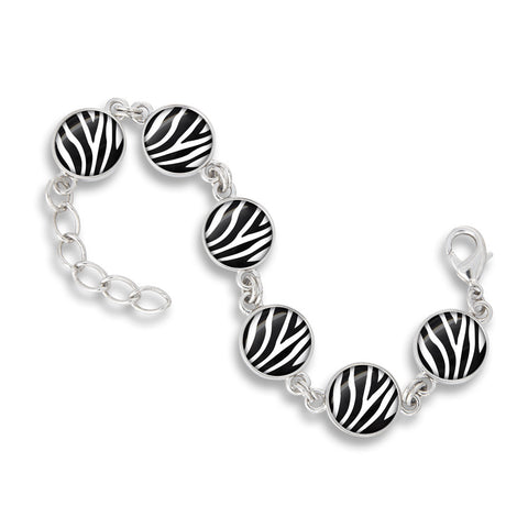 Link Charm Bracelet Featured in the Zoolander Black & White Zebra Print