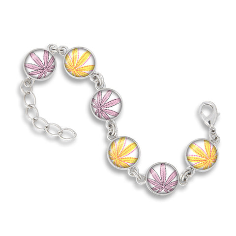 Cannabis Icon-O-Pop Collection Link Charm Bracelet (Line Illustrated Mellow Yellow & Pink)