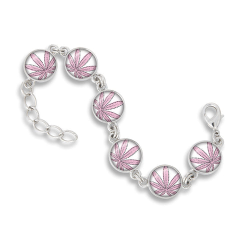 Cannabis Icon-O-Pop Collection Link Charm Bracelet (Line Illustrated Puff-Pass Pink)