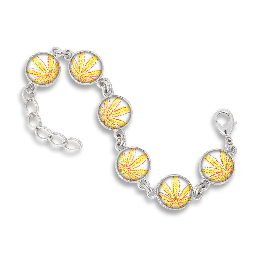 Cannabis Icon-O-Pop Collection Link Charm Bracelet (Line Illustrated Mellow Yellow)