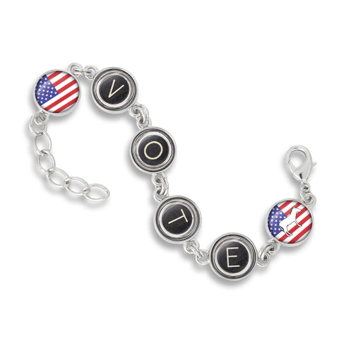 Handcrafted USA Six Link Charm Bracelet featuring the Election Collection - Vote Democrat