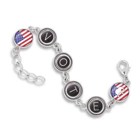 Handcrafted USA Six Link Charm Bracelet featuring the Election Collection - Vote Republican