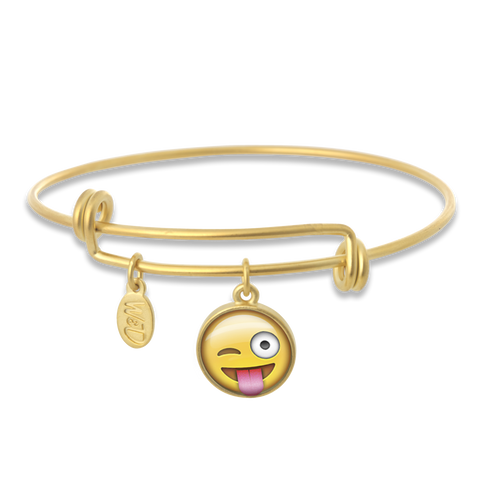 Silly Winking Face Emoji Adjustable Bangle Bracelet