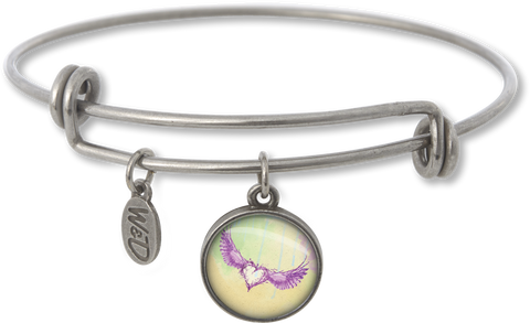 Handcrafted in the USA Bangle Charm Bracelet - Heart with Wings