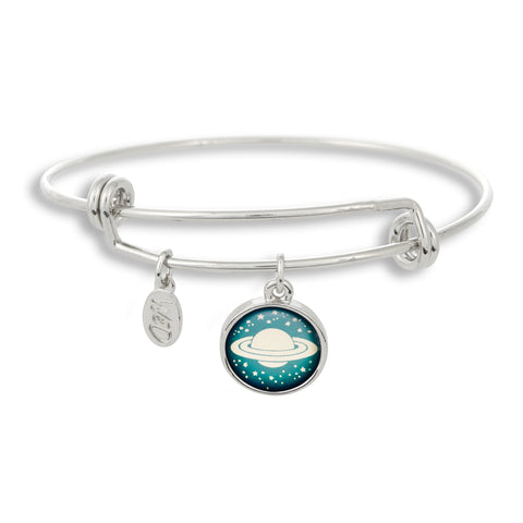 It's all about pairing bracelets with rings when you wear The Winky&Dutch Adjustable Band Bangle Bracelet featuring Saturn.