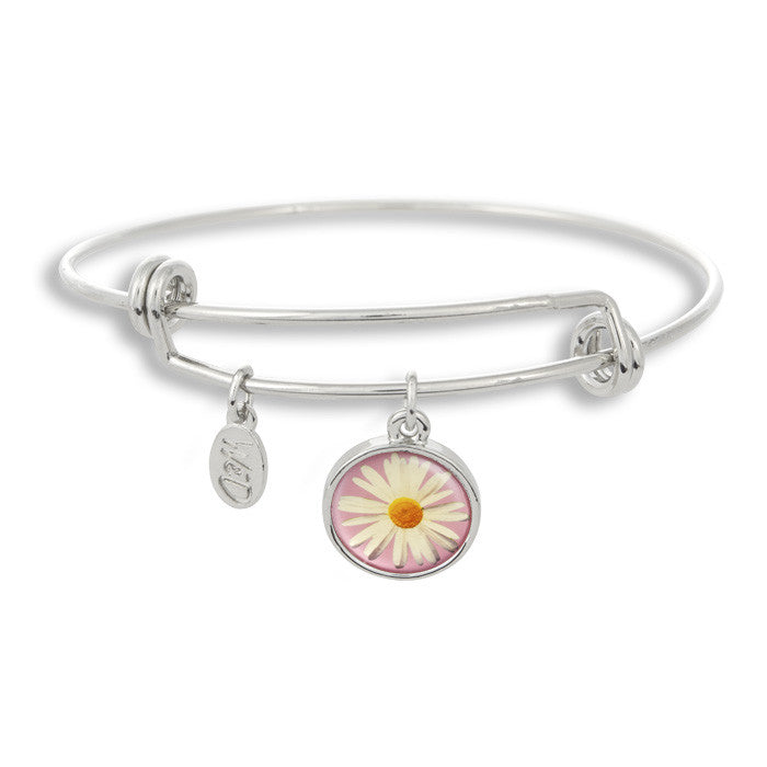 The Winky&Dutch Adjustable Band Bangle Bracelet features a daisy with a pink background, perfect for that summer garden party or to brighten up a dreary day!