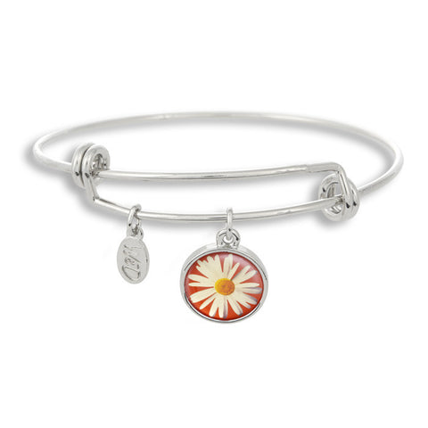 The Winky&Dutch Adjustable Band Bangle Bracelet features a daisy with a red background, perfect for that summer garden party or to brighten up a dreary day!