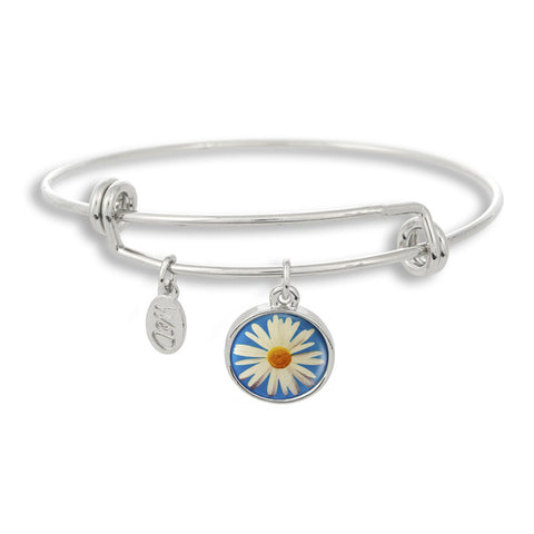 The Winky&Dutch Adjustable Band Bangle Bracelet features a daisy with a blue background, perfect for that summer garden party or to brighten up a dreary day!