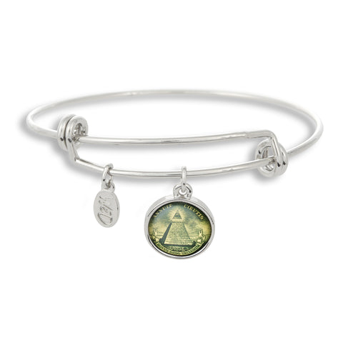 Show that your fashion has currency and value when you're wearing The Winky&Dutch Adjustable Band Bangle Bracelet featuring Dollar Pyramid. Perfect for Illuminati enthusiasts!