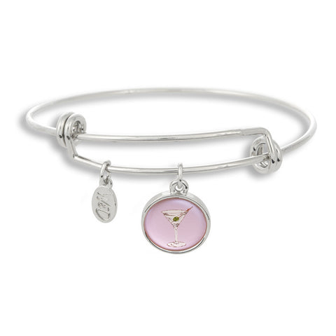 Your style certainly isn't shaken or stirred with The Winky&Dutch Adjustable Band Bangle Bracelet featuring our martini glass with a pink background.