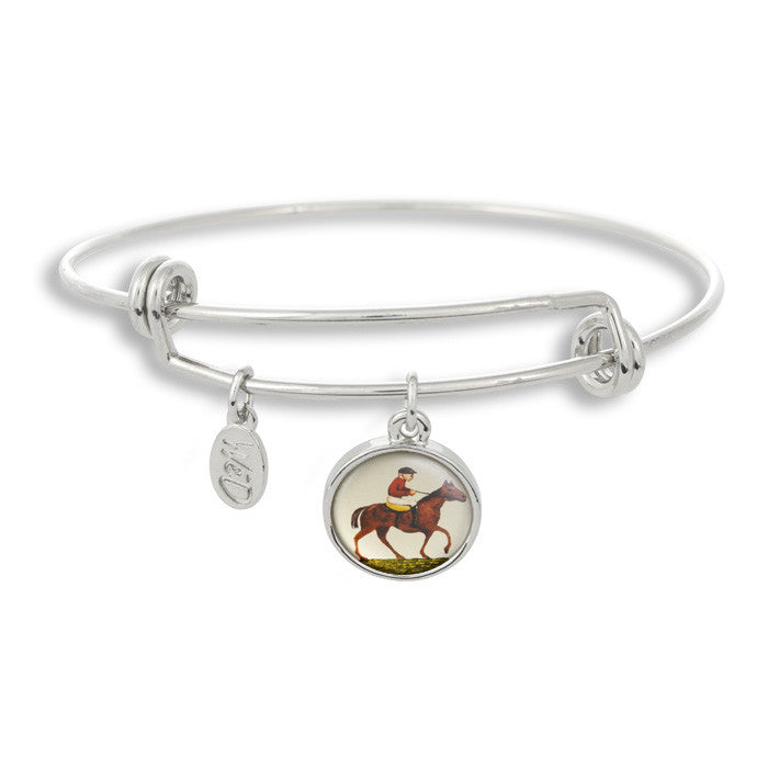 Neigh! What Kentucky Derby outfit is complete without The Winky&Dutch Adjustable Band Bangle Bracelet featuring our own horse and jockey?