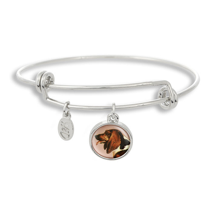 Woof! Keep your dog close to you with The Winky&Dutch Adjustable Band Bangle Bracelet featuring the bassett hound.