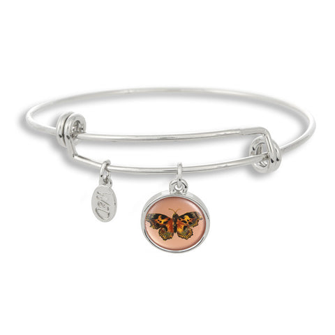 The majestic butterfly is a sure sign of summer and spring! The Adjustable Band Bangle Bracelet features our signature butterfly with a pink background.