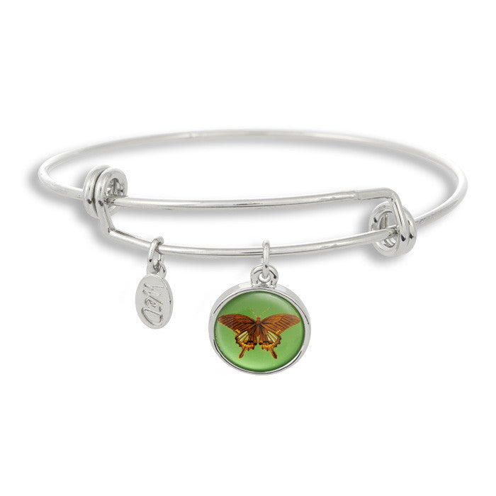 The majestic butterfly is a sure sign of summer and spring! The Adjustable Band Bangle Bracelet features our signature butterfly with a sharp green background.