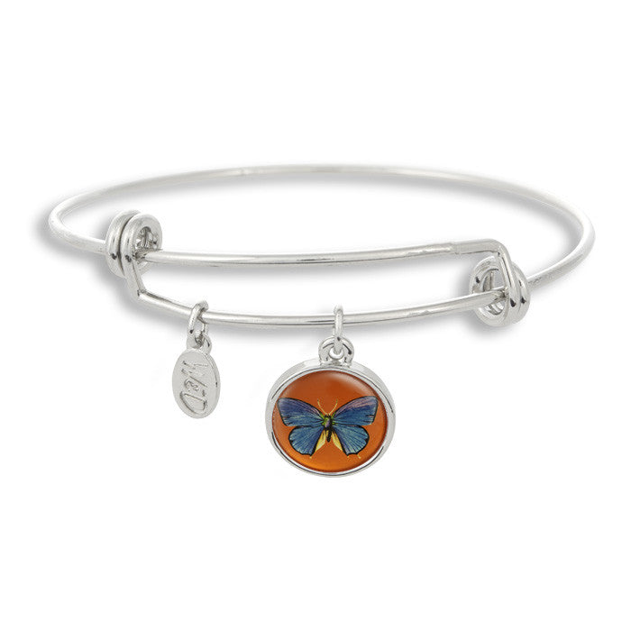 The majestic butterfly is a sure sign of summer and spring! The Adjustable Band Bangle Bracelet features our signature butterfly with a orange background.