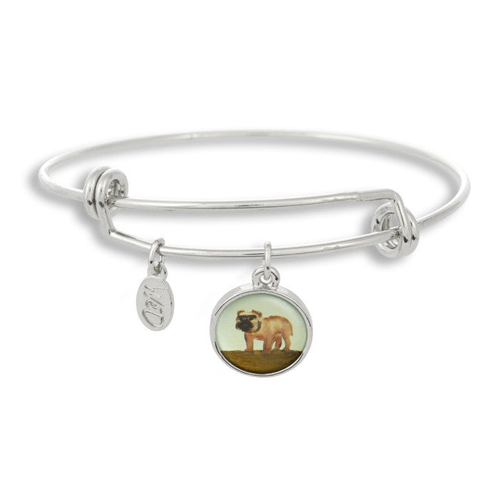 Woof! Keep your dog close to you with The Winky&Dutch Adjustable Band Bangle Bracelet featuring the painted pug.