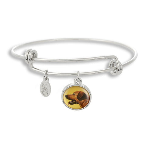 Woof! Keep your dog close to you with The Winky&Dutch Adjustable Band Bangle Bracelet featuring the yellow labrador retriever.