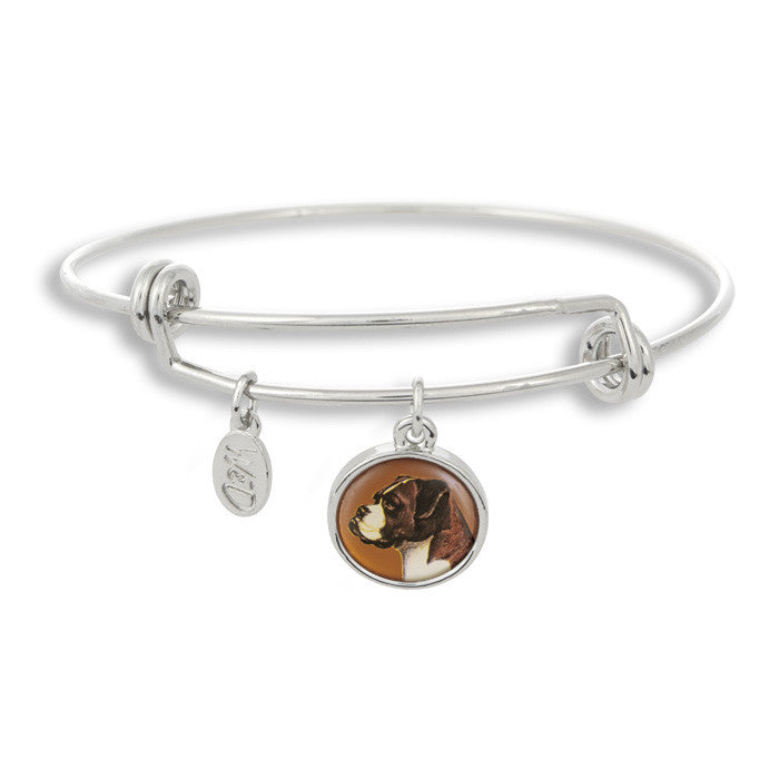 Woof! Keep your dog close to you with The Winky&Dutch Adjustable Band Bangle Bracelet featuring the boxer.